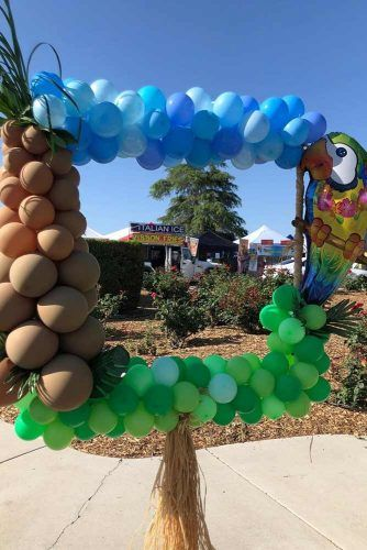 Balloon Frame Decoration For Luau Party #balloonframe