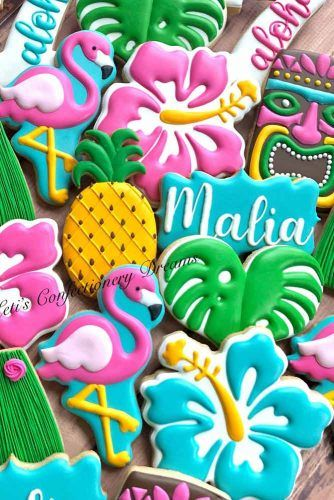 Luau Cookies Ideas #tropicalcookies #luaufood