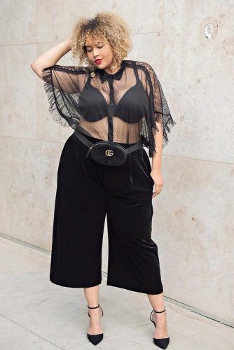 The Black Culottes And A Transparent Top Outfit #blacktop #culottes