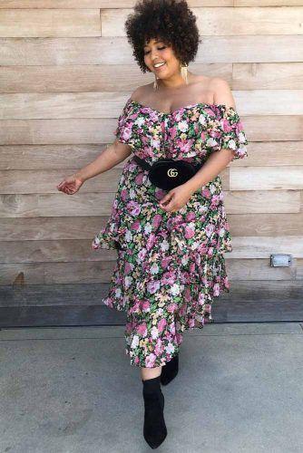 A Shoulder Off Floral Dress Design #floraldress #offtheshoulderdress