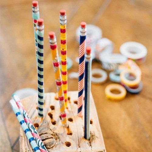 DIY Washi Tape Pencils School Supplies #washitapepencils
