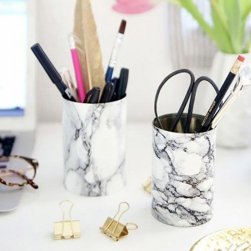 Marble Pencil Holder School Supplies #marbledesign #pencilsholder