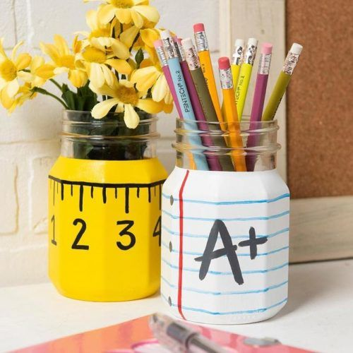 Mason Jars For DIY Pencils Holder #pencilsholder