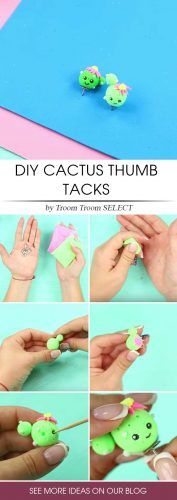 DIY Cactus Pins Idea #cactuspins #tutorial