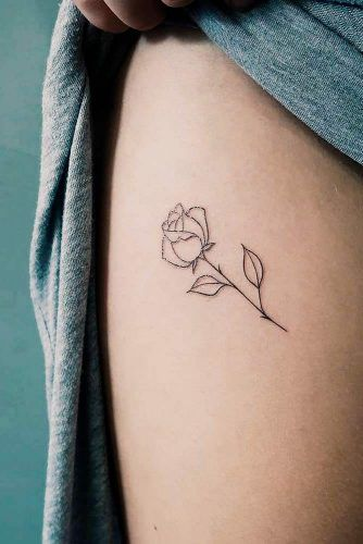 A Simple Rose Thigh Tattoo #simpletattoo #rosetattoo