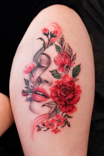 A Floral Portrait Tattoo Design #portraittattoo #floraltattoo