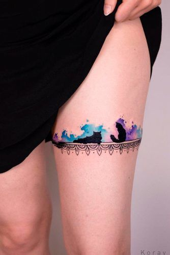 A Galaxy Watercolor Cat Tattoo With The Lace #lacetattoo #cattattoo #watercolortattoo