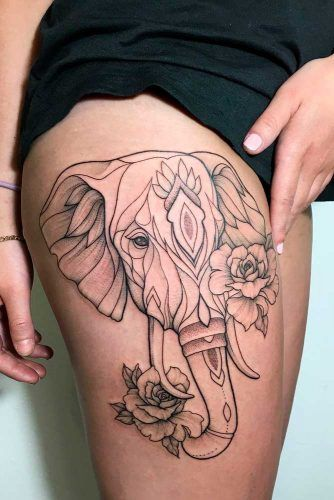 An Outline Elephant Tattoo For A Thigh #elephanttattoo