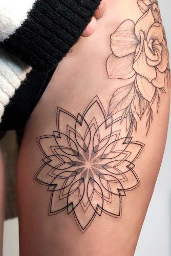 A Mandala Thigh Flower Tattoo #mandalatattoo
