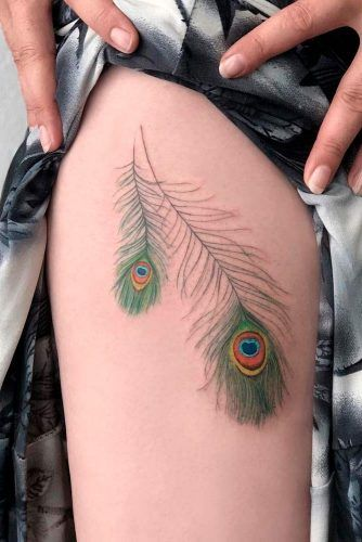 A Peacock Feather Tattoo Idea  #peacockfeathertattoo #feathertattoo