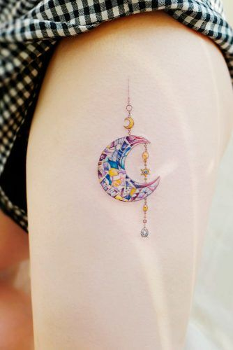 A Small Side Thigh Tattoo With The Moon #moontattoo