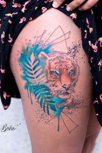 A Thigh Tattoo Design With Tiger #tigertattoo