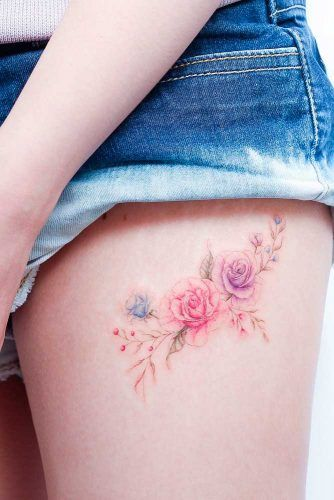 Rose Tattoos On A Thigh #rosetattoo #floraltattoo