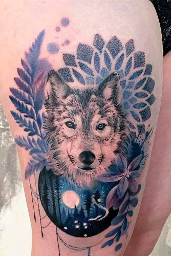 A Wolf Tattoo Design On A Thigh #wolftattoo #watercolortattoo