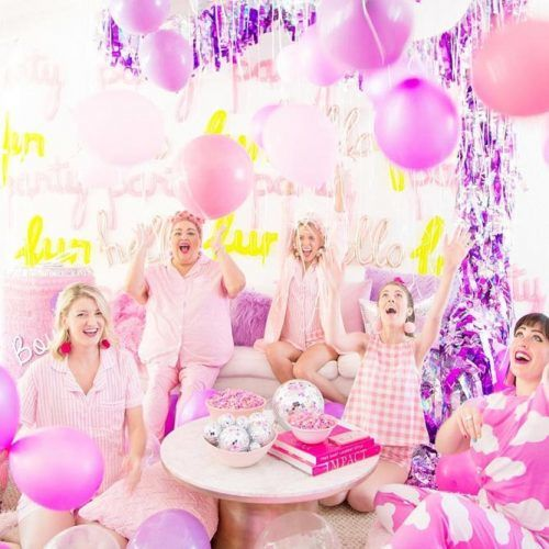 A Holographic Stripes And Balloons Slumber Party #slumberparty