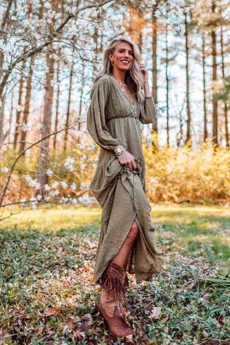 Boho Style With Cowboy Boots And Long Sleeved Dress #bohostyle #casualoutfit