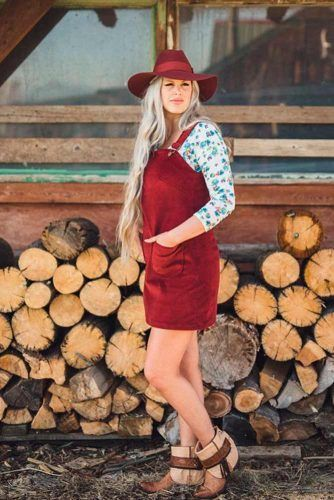 Burgundy Skirt Overalls With A Hat #stylishlook #casualoutfit
