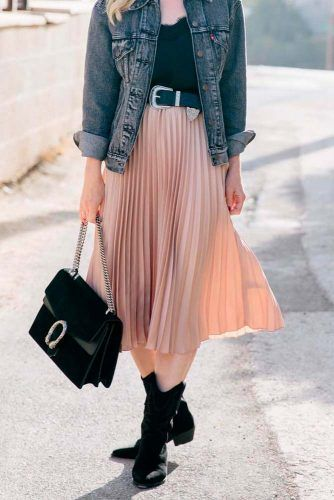 Denim Jacket And Pleated Skirt #casualoutfit #fashion