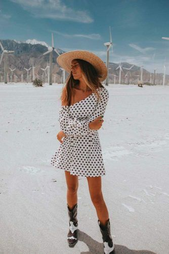 One Shoulder Polka-Dot Mini Dress With A Hat #casualoutfit #minidress