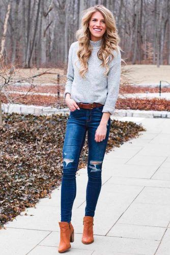 Ripped Jeans With A Sweater #casualoutfit #stylishlook