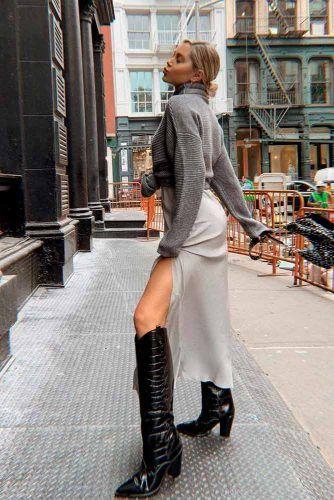 Silk Maxi Skirt With A Sweater #stylishlook #maxiskirt