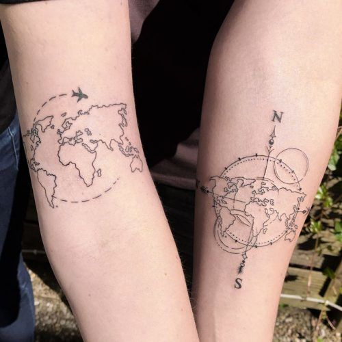 Map And Compass For Best Friends #compasstattoo #maptattoo