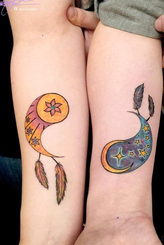 Yin Yang Colorful Tattoo Ideas #yinyangtattoo