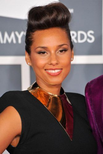 Voluminous Pompadour For Long Hair #aliciakeys #updohairstyles