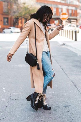 Comfy Coat With Combat Boots Outfit #rippedjeans #coat