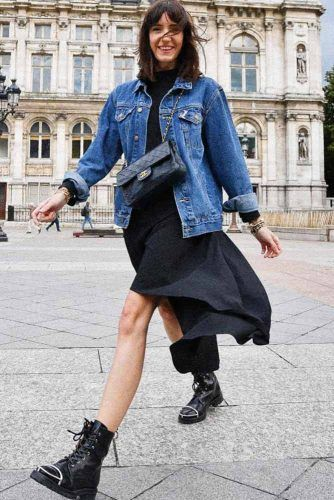 Maxi Dress With Black Boots Outfit #denimjacket