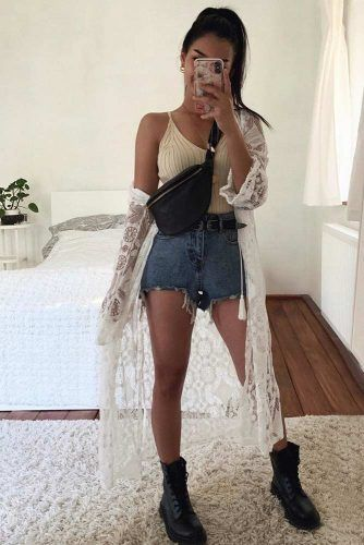 Denim Shorts With Combat Boots Outfit #denimshorts #top