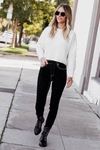 Black And White Outfit With Combat Boots #whitesweater #blackjeans