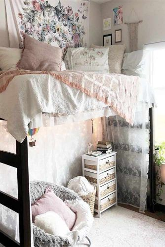 Lofted Bed With Rest Space Idea #bohowalldecor #pouf