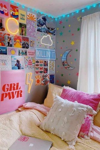Dorm Wall Décor With Neon Signs #neonsignsdecor