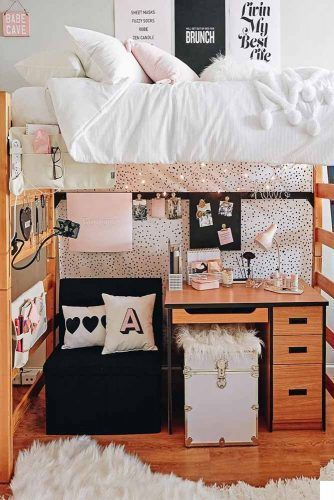 Lofted Bed With Storage Desk #deskorganization #poufchair