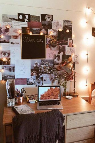 Study Space Organization With Pictures Wall Decor #studyspace #deskorganization