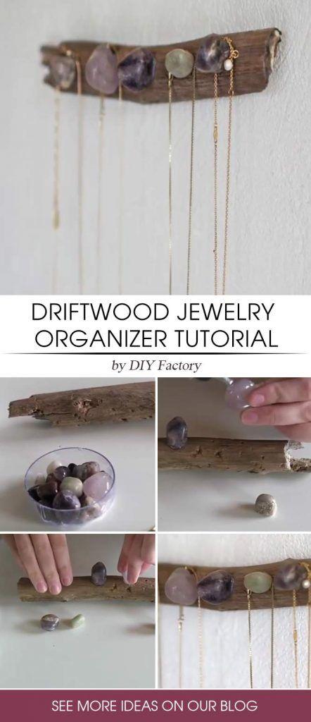 DIY Driftwood Jewelry Organizer #driftwoodorganizer #diynecklaceholder #diyorganizer