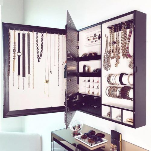 Wall Mounted Jewelry Organizer Design #walljewelryorganizer