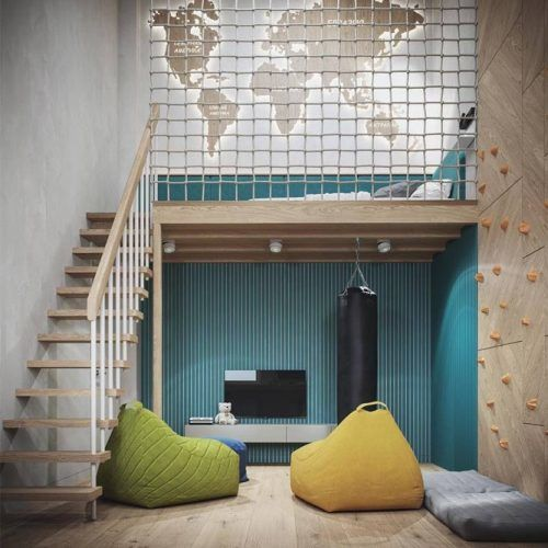 Kids Bedroom With Loft Bed And Activity Space #restspace #walldecor