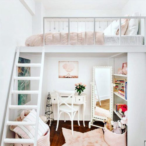 Girls Bedroom With Beauty Space Loft Bed #beautyspace #shelves