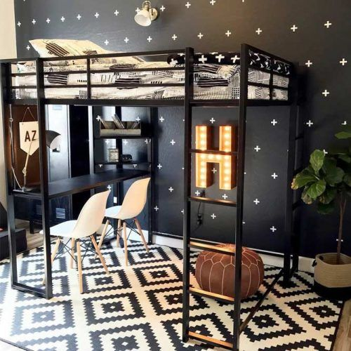 Black Metallic Loft Bed With Study And Rest Space #fullsizebed #desk