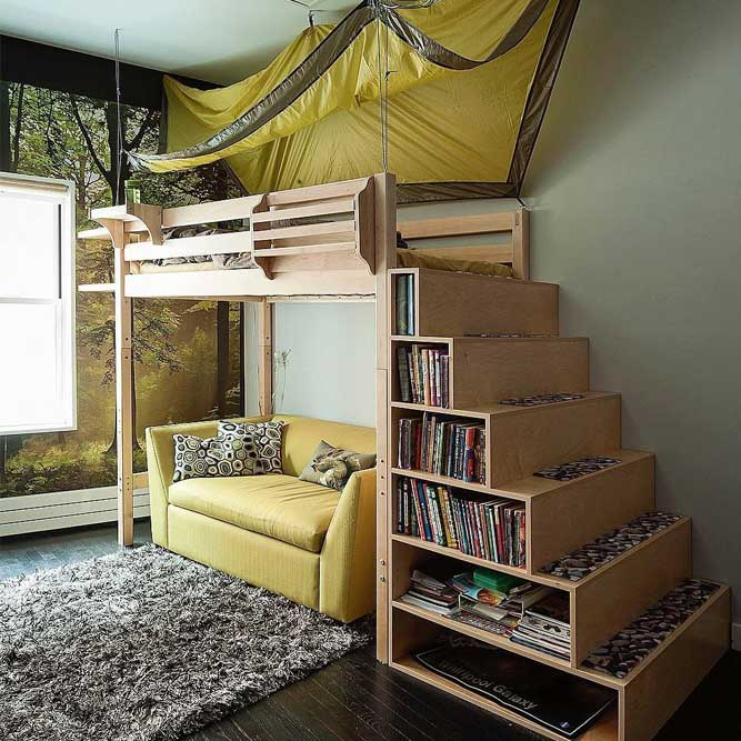 Loft Bed With Book Storage Stairs #bookcase #sofa