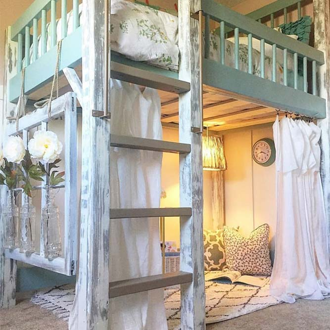 Loft Bed Decor In French Style #frenchstyle