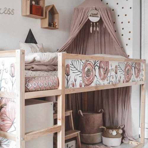 Pink Girly Bedroom Loft Bed With Canopy #girlbedroom #canopybed