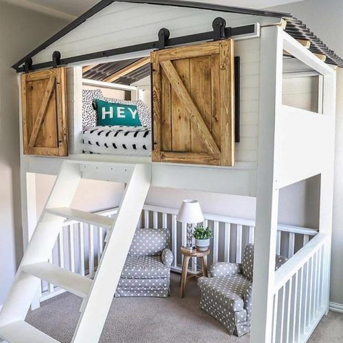 Loft Bed With Barn Doors Design #house #barndoors