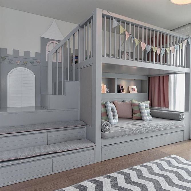 Kids Bedroom With Loft Bed And Rest Space #sofa #stairs