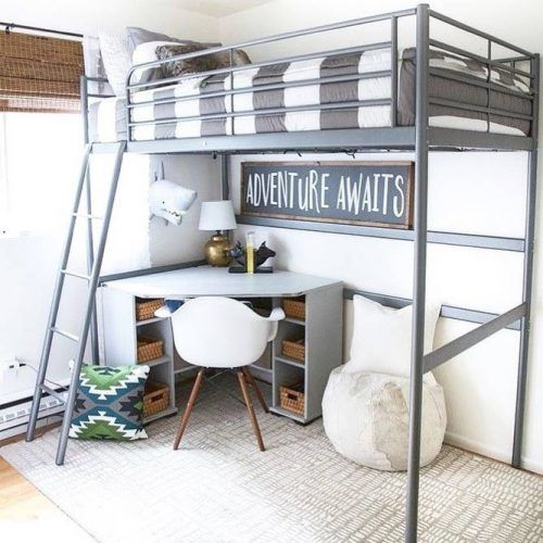 Metallic Loft Bed With Corner Study Space #studyspace