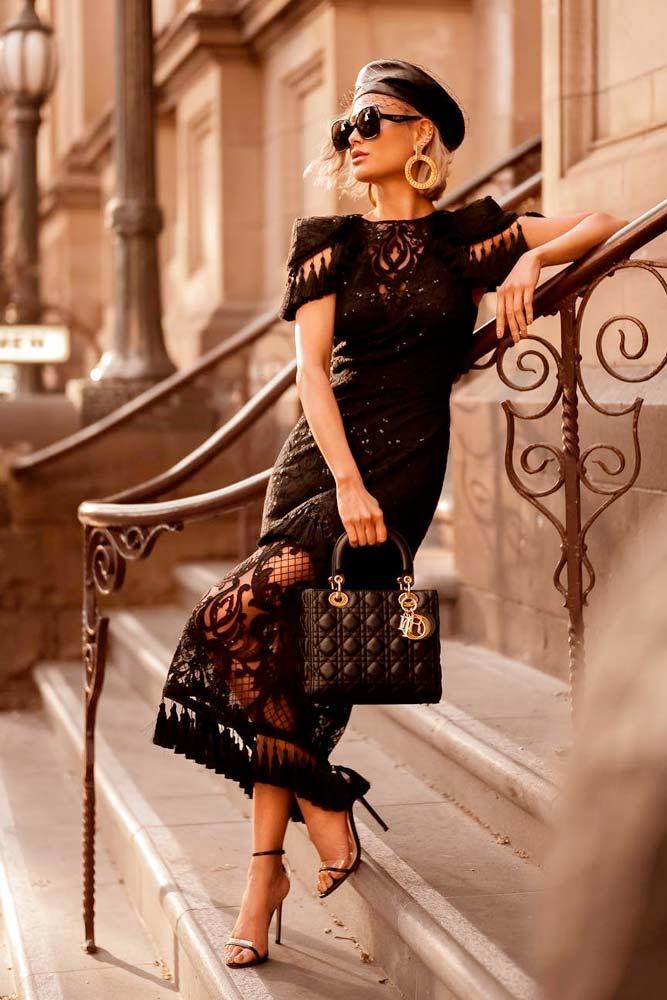 Designer Dress And Elegant Small Beret #blackdress