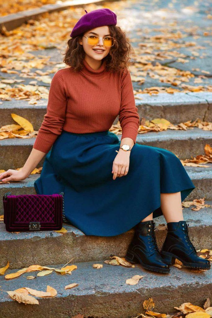 Orange Long Sleeve with Blue Skirt
