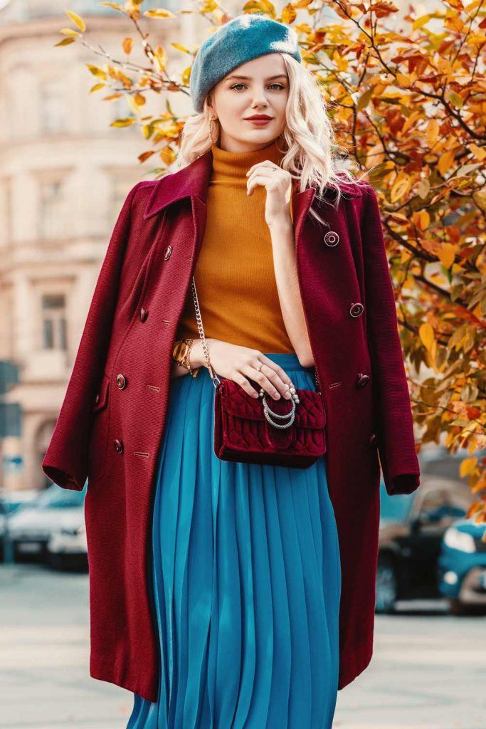 Red Coat with Accented Blue Skirt and Beret